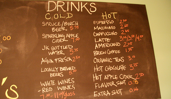 Hank's Drink Menu