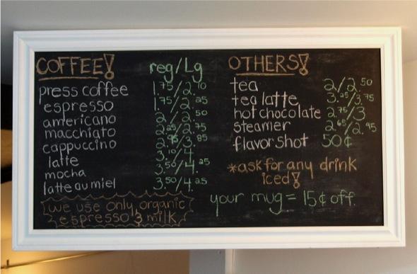 cafe novo menu