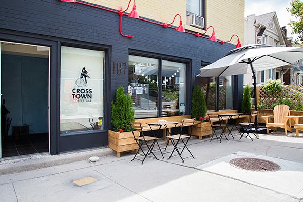 Crosstown coffee bar blogto toronto for Coffee shop exterior design ideas