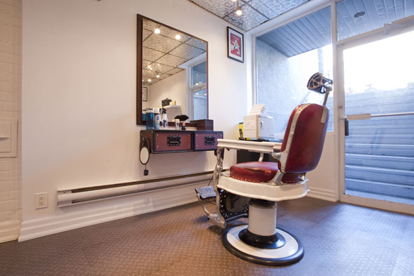 in the basement there s now a men s area with barber chairs and a