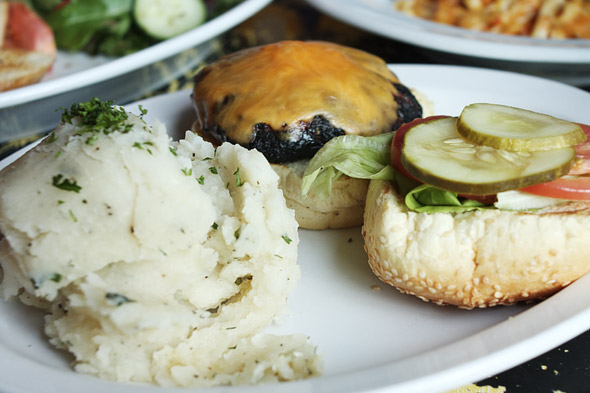 Victory Cheese Burger with Herbed Mashed Potatoes