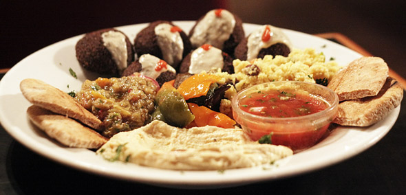 Falafel combo snack plate at Free Times Cafe in Toronto