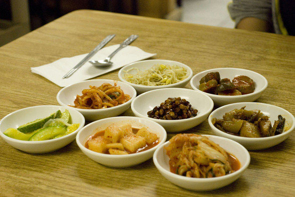 Banchans at Traditional Korean Restaurant