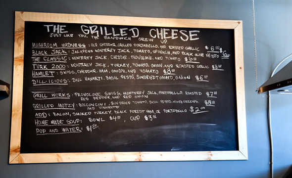 The Grilled Cheese menu