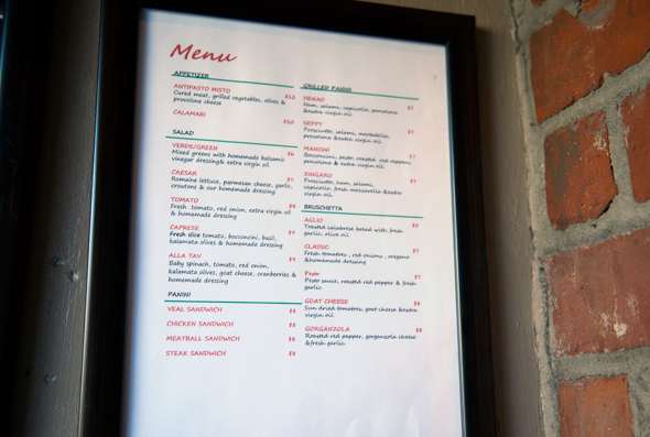 Taverniti menu