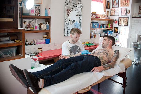 artist-run tattoo shops, which in name, pays homage to Percy Waters,