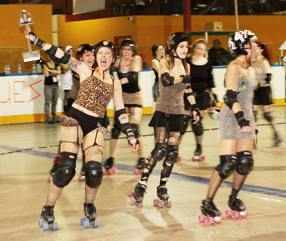 Gore-Gore Rollergirls Show Off Their Win