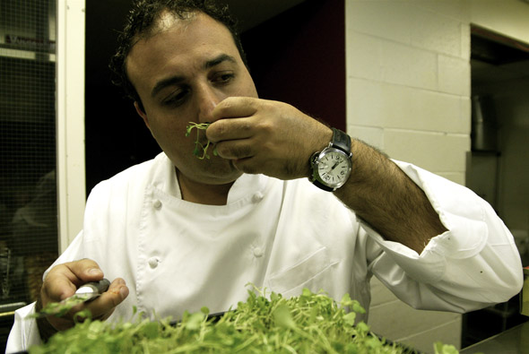 Executive Chef Stephen Ricci smells the arugula to ensure its freshness during the Transformation party at the Windsor Arms Hotel