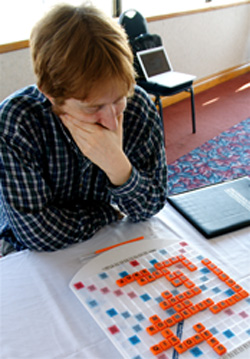 Scrabble Master Adam Logan at the Kingston Cup match