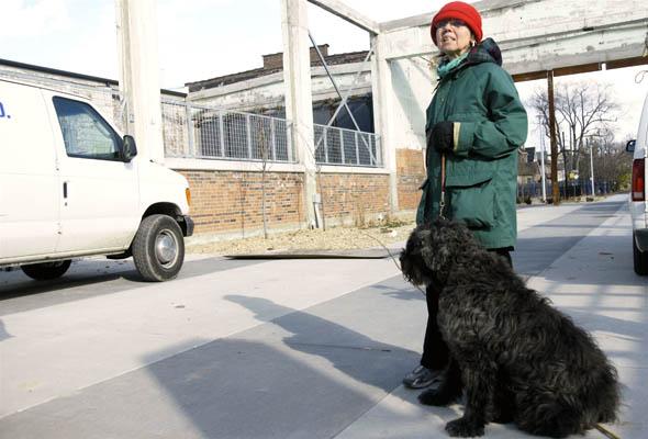Sandra Carpenter-Davis walks Jo Jo Bella at The Artscape Wychwood Barns in Toronto