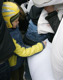 Kids having fun at the pillow fight at Yonge-Dundas Square in Toronto 2009