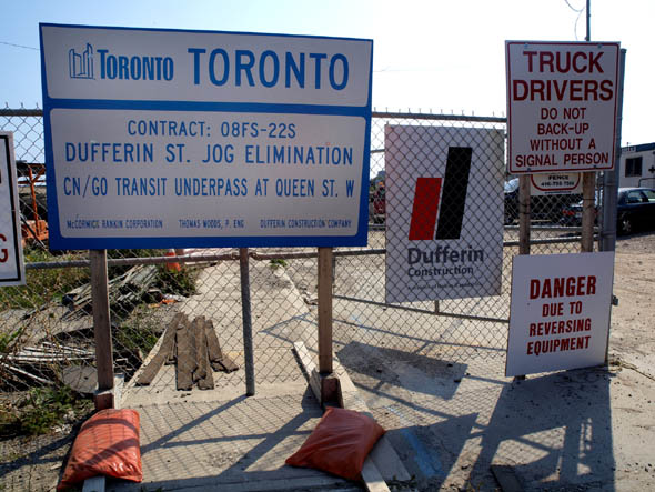 Dufferin Jog construction Toronto