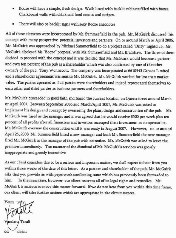 Prohibition Letter