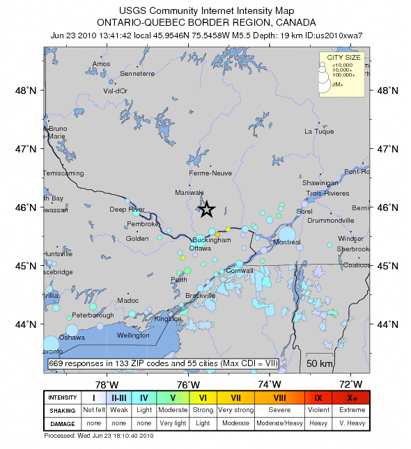 USGS indication of earthquake region