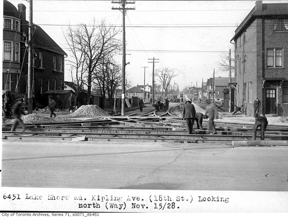 lakeshore road, kipling avenue, new toronto, streetcar line reconstruction, 1928