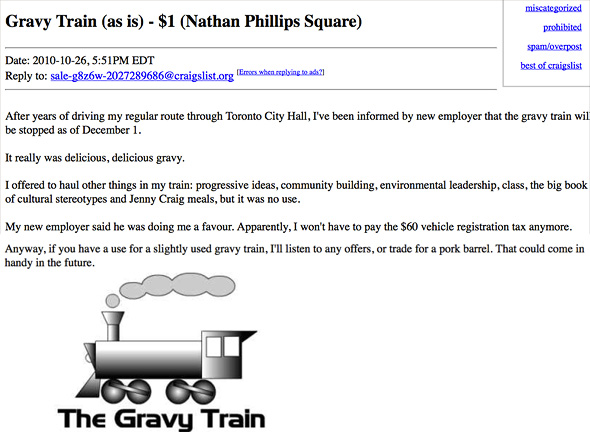 Gravy Train Craigslist Ad