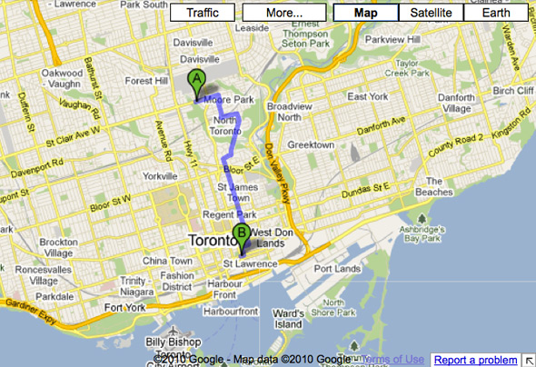 Google Bike Map Toronto