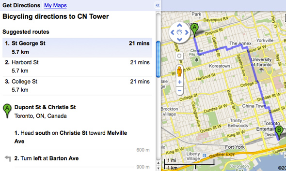 Google Bike Map Directions Toronto