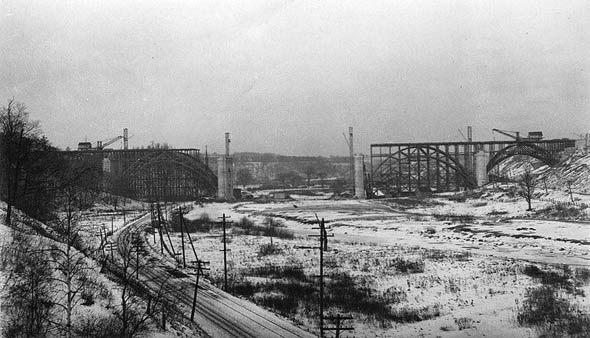 Bloor Street Viaduct construction. Toronto 1910s