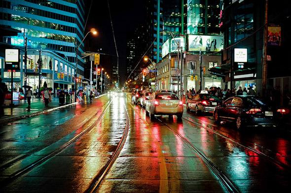 wet, rain, night