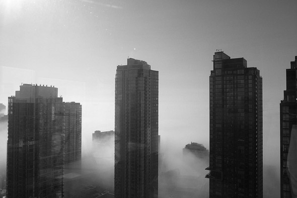 city, fog, morning