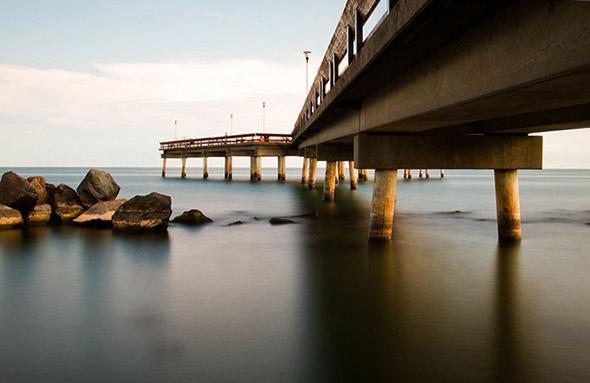 under, bridge, island