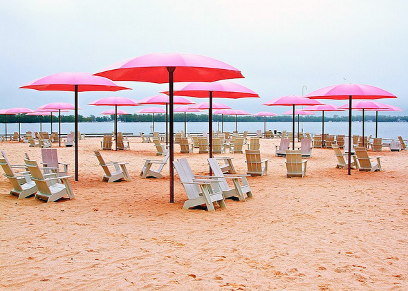 Sugar Beach Toronto Pink Umbrellas Muskoka Chairs Skincare Summer