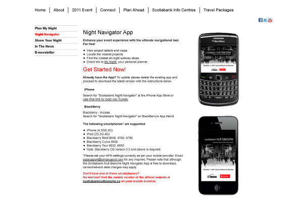 Nuit Blanche Toronto Mobile Apps
