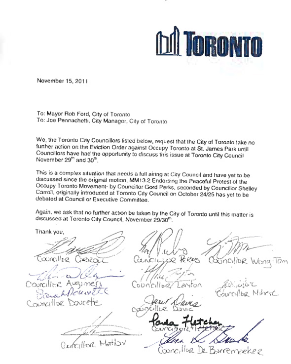 Councillors Letter Occupy Toronto