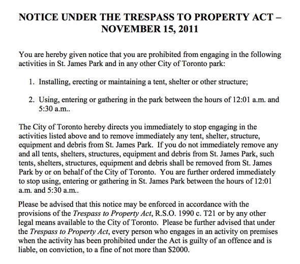 Occupy Toronto Eviction Notice