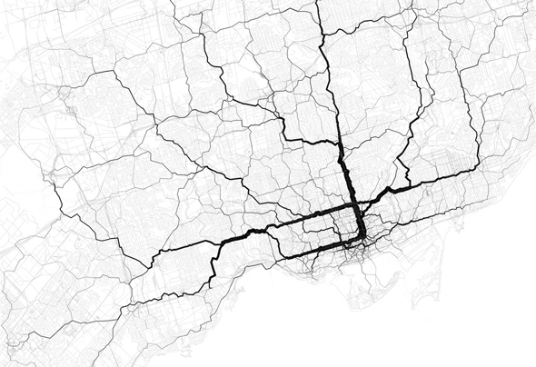 Twitter Map Paths Toronto Eric Fischer