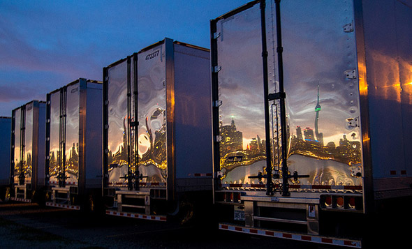 skyline, reflection, trucks