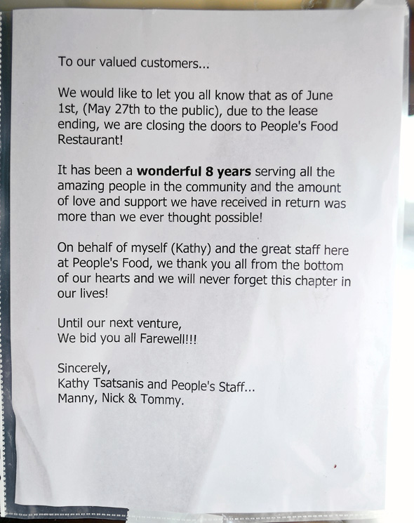 People's Foods Closed