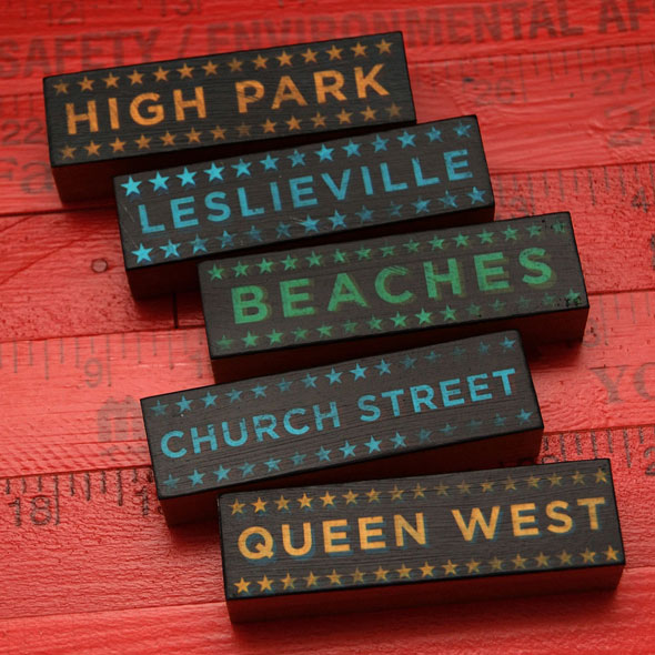 toronto neighbourhood wooden blocks