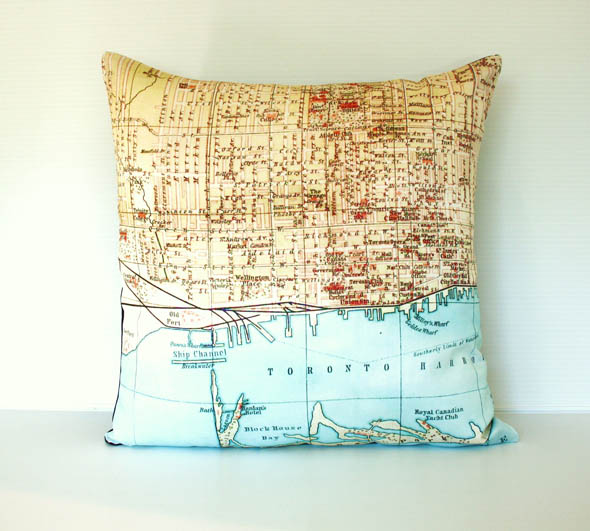 toronto map cushion