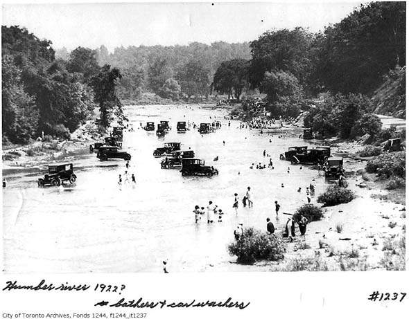 bathers cars in the humber river