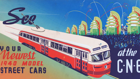 vintage ttc adverts 1940s streetcars CNE