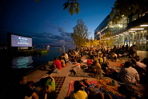 toronto sail in cinema beach screen night