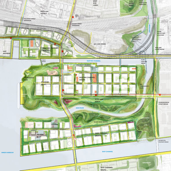toronto waterfront revised port lands plan map