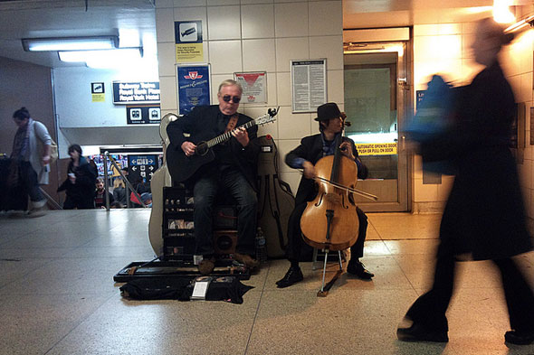 toronto subway TTC buskers guitar cello