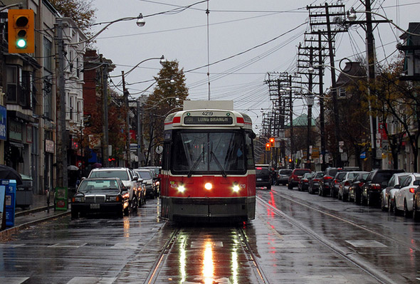Toronto streetcar rain