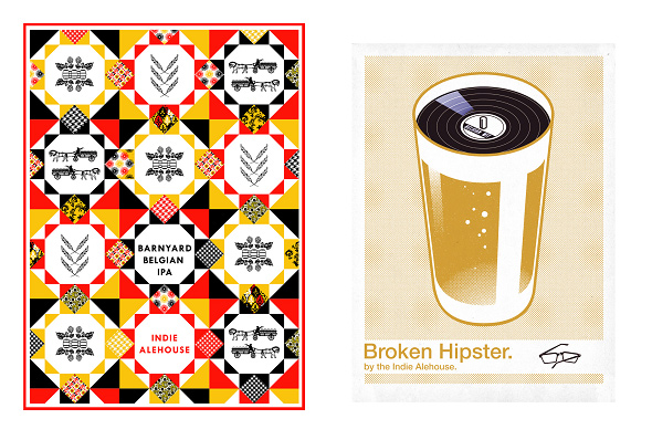 Indie Alehouse Beer labels