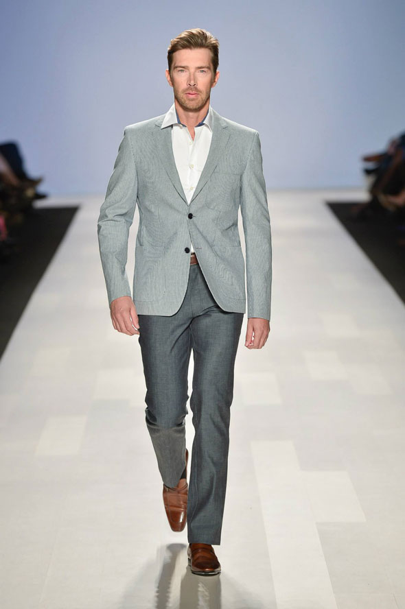 Toronto Fashion Week Subtle Pinstripe Slate Grey Brown Belt To Match