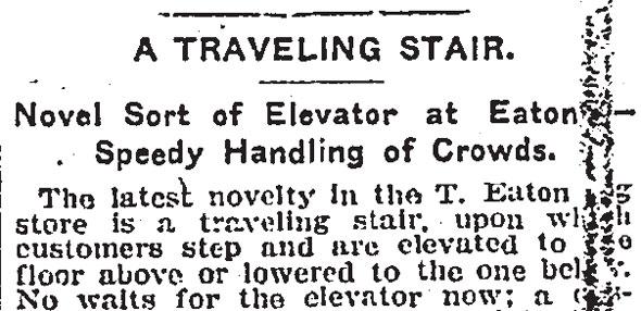 toronto eaton's escalator