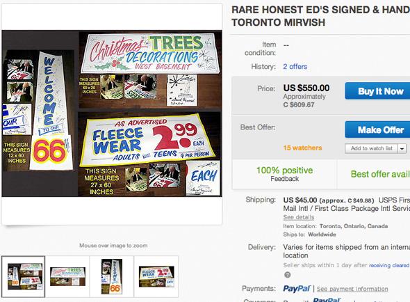 Honest Eds signs