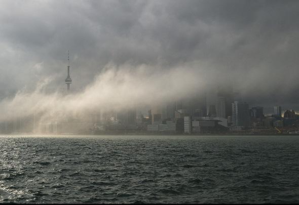 Toronto skyline mist