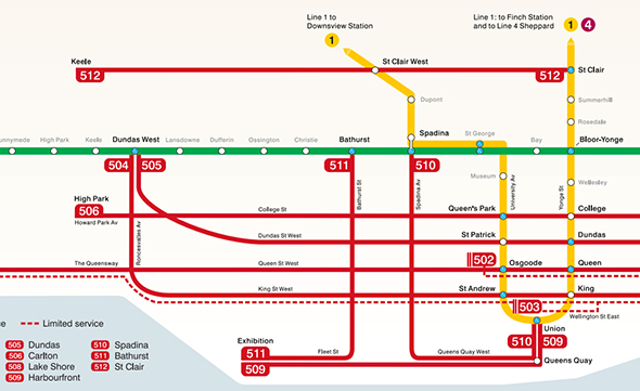 Toronto Ttc Subway Map.Events In Toronto New Ttc Map Combines Subway And Streetcar Routes