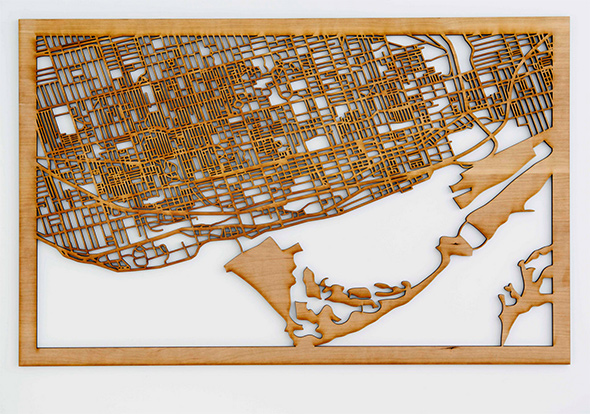 Intricate Lasercut Map Of Toronto Shows Off Streetscape