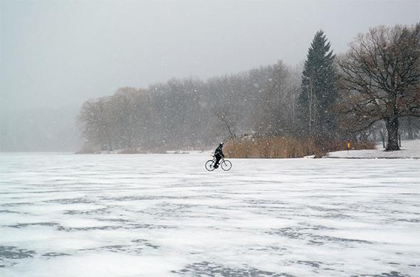pond cyclist winter