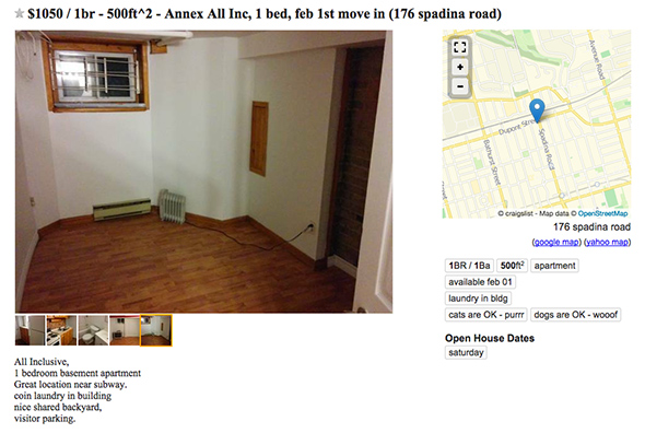 What kind of apartment does $1000 get you in Toronto?